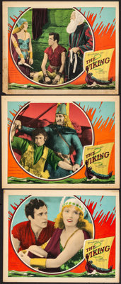 "The Viking (MGM, 1928). Fine+. Lobby Card (11"" X 14"") & Trimmed Lobby Cards (2) (11"" X 13.75"")..."