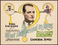 "What Happened to Jones (Universal, 1926). Fine/Very Fine. Title Lobby Card (11"" X 14""). Comedy. From the Colle..."