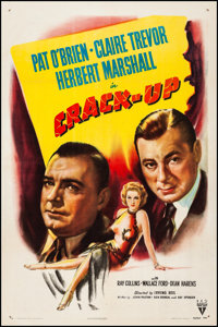 "Crack-Up (RKO, 1946). Very Fine- on Linen. One Sheet (27"" X 41""). Film Noir. From the Collection of Frank Buxt..."