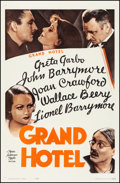 "Movie Posters:Academy Award Winners, Grand Hotel (MGM, R-1962). Very Fine- on Linen. One Sheet (27"" X 41.5""). Academy Award Winners. From the Collection of Fra..."