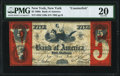 New York, NY- Bank of America Counterfeit $5 June 1, 1861 PMG Very Fine 20