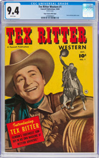 Tex Ritter Western #1 Mile High Pedigree (Fawcett Publications, 1950) CGC NM 9.4 White pages