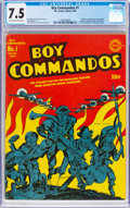 Golden Age (1938-1955):War, Boy Commandos #1 (DC, 1942) CGC VF- 7.5 Off-white to white pages....