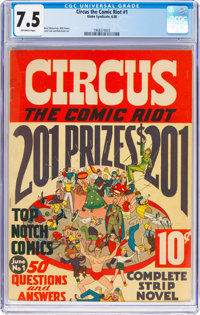 Circus the Comic Riot #1 (Globe Syndicate, 1938) CGC VF- 7.5 Off-white pages