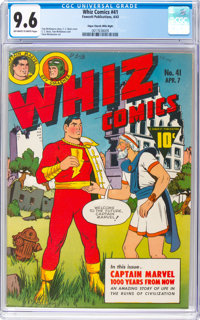 Whiz Comics #41 Mile High Pedigree (Fawcett Publications, 1943) CGC NM+ 9.6 Off-white to white pages
