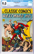 Golden Age (1938-1955):Classics Illustrated, Classic Comics #14 Westward Ho! Original Edition (Gilberton, 1943) CGC VF/NM 9.0 Cream to off-white pages....