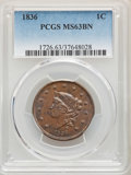 Large Cents: , 1836 1C MS63 Brown PCGS. PCGS Population: (30/25). NGC Census: (17/20). CDN: $850 Whsle. Bid for problem-free NGC/PCGS MS63...