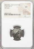 Ancients:Greek, Ancients: LUCANIA. Metapontum. Ca. 330-280 BC. AR stater (20mm, 1h). NGC VF, scratches. ...