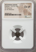 Ancients:Byzantine, Ancients: Justinian I the Great (AD 527-565). AE nummus (9mm, 6h). NGC Choice VF....