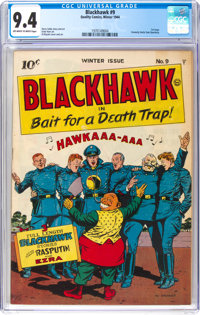 Blackhawk #9 (Quality, 1944) CGC NM 9.4 Off-white to white pages