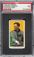 Baseball Cards:Singles (Pre-1930), 1909-11 T206 Sovereign 350 Mordecai Brown (Chicago On Shirt) PSA NM 7 - Pop One, None Higher for Brand! ...