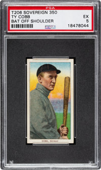 1909-11 T206 Sovereign 350 Ty Cobb (Bat Off Shoulder) PSA EX 5 - Pop Three, Two Higher for Brand/Series