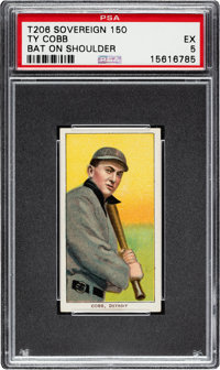 1909-11 T206 Sovereign 150 Ty Cobb (Bat On Shoulder) PSA EX 5 - Pop Two, Two Higher for Brand/Series