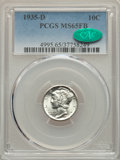 Mercury Dimes: , 1935-D 10C MS65 Full Bands PCGS. CAC. PCGS Population: (263/182). NGC Census: (72/41). CDN: $385 Whsle. Bid for problem-fre...