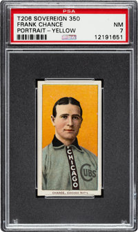 1909-11 T206 Sovereign 350 Frank Chance (Portrait-Yellow) PSA NM 7 - Pop One, One Higher for Brand/Series