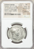 Ancients:Roman Imperial, Ancients: Hadrian (AD 117-138). AR cistophorus (31mm, 9.91 gm, 7h).NGC VF 3/5 - 3/5, overstruck, graffito....