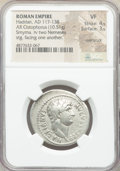 Ancients:Roman Imperial, Ancients: Hadrian (AD 117-138). AR cistophorus (28mm, 10.51 gm,6h). NGC VF 4/5 - 3/5, overstruck....