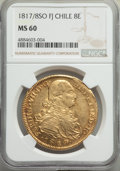 Chile, Republic gold 8 Escudos 1817/8 So-FJ MS60 NGC, San...