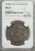 Colombia, Republic 8 Reales 1835-RS MS63 NGC,...