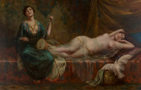 Continental School (19th Century) Beauties in a Harem Oil on canvas 25 x 42 inches (63.5 x 106.7
