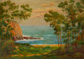 Fine Art - Painting, American:Modern  (1900 1949), Andreas Roth (Austrian/American, 1871-1949). Emerald Bay, LagunaBeach, California, 1940. Oil on canva...