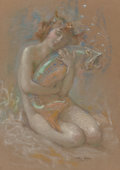Works on Paper:Drawing, Arthur Prince Spear (American, 1879-1959). River Nymph, 1921. Pastel on paper. 19-1/4 x 13-1/2 inches (48.9 x 34.3 cm). ...