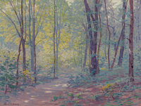 Frank V. Dudley (American, 1868-1957) A Springtime Path Oil on canvas 23-1/4 x 30-1/8 inches (59