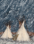 Fine Art - Work on Paper:Print, Kevin Red Star (b. 1943). First Snow Fall on Rock Creek Valley, c. 1980. Serigraph in colors on paper. 32 x 24 inches (8...
