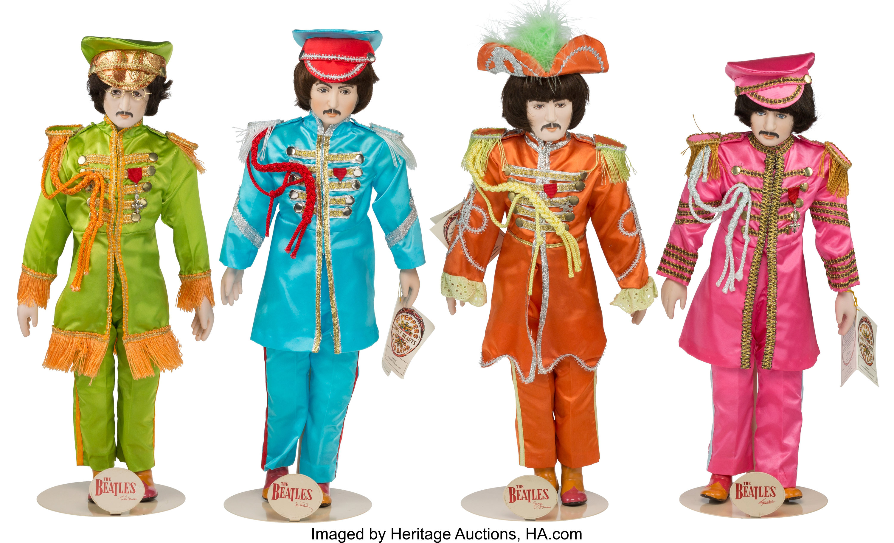 Beatles Sgt Pepper Porcelain Doll Set Of Four With Stands In Lot 89188 Heritage Auctions