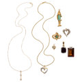 Estate Jewelry:Pendants and Lockets, Diamond, Multi-Stone, Cultured Pearl, Gold Jewelry . ... (Total: 8Items)