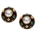 Estate Jewelry:Earrings, Mabe Pearl, Emerald, Wood, Gold Earrings, Trianon . ...