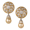 Estate Jewelry:Earrings, Cultured Pearl, Diamond, Gold Earrings . ...