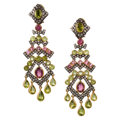 Estate Jewelry:Earrings, Peridot, Pink Tourmaline, Diamond, Gold, Silver Earrings. ...