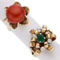 Estate Jewelry:Rings, Diamond, Emerald, Coral, Gold Rings. ... (Total: 2 Items)