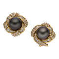 Estate Jewelry:Earrings, Black South Sea Cultured Pearl, Diamond, Gold Earrings. ...