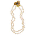 Estate Jewelry:Necklaces, Sapphire, Diamond, Cultured Pearl, Gold Necklace-Brooch. ...