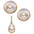 Estate Jewelry:Lots, Diamond, Mabe Pearl, Blister Pearl, Gold Jewelry. ... (Total: 2 Items)