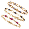 Estate Jewelry:Bracelets, Iolite, Pink Tourmaline, Gold Bracelets. ... (Total: 3 Items)