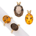 Estate Jewelry:Lots, Citrine, Smoky Quartz, Gold Jewelry . ... (Total: 4 Items)