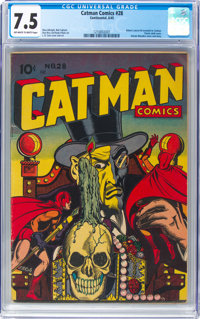 Cat-Man Comics #28 (Continental, 1945) CGC VF- 7.5 Off-white to white pages