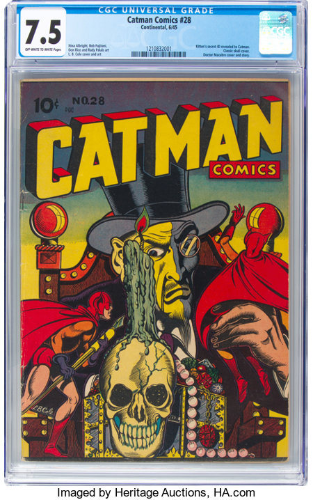 Cat-Man Comics #28 (Continental, 1945) CGC VF- 7.5 Off-white to white pages....