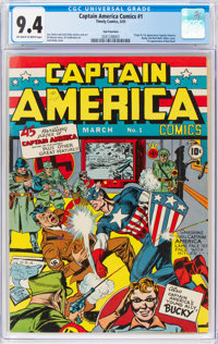 Captain America Comics #1 San Francisco Pedigree (Timely, 1941) CGC NM 9.4 Off-white to white pages