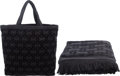 Luxury Accessories:Bags, Chanel Set of Two: Black Terry Cloth Beach Tote & Towel. Condition: 1. See Extended Condition Report for Sizes.... ... (Total: 2 )
