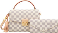 Louis Vuitton Set of Two: Damier Azur Croisette Bag & Wallet Condition: 1 See Extended Condition