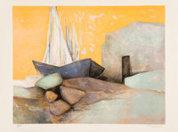 Claude Gaveau (b. 1940) Les Mats (Checkmate), 1979 Lithograph in colors on Arches paper 22 x 30 i