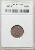 Indian Cents: , 1897 1C MS65 Brown ANACS. CDN: $130 Whsle. Bid for problem-free NGC/PCGS MS65. Mintage 50,466,328. ...