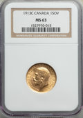 Canada, George V gold Sovereign 1913-C MS63 NGC,...
