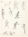 Original Comic Art:Sketches, Roy G. Krenkel Sketchbook Figures Original Art (c. 1950s). ...