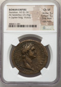 Ancients:Roman Imperial, Ancients: Domitian, as Augustus (AD 81-96). AE sestertius (34mm,25.35 gm, 6h). NGC Choice VF 5/5 - 2/5, Fine Style, edge marks....