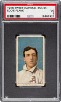 Baseball Cards:Singles (Pre-1930), 1909-11 T206 Sweet Caporal 350/30 Eddie Plank PSA VG 3. ...